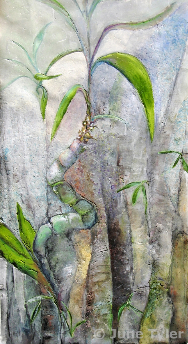 """Bamboo"" 43.5"" x 22"" Mixed media: Golden artist colors, handmade paper and assorted drawing materials"