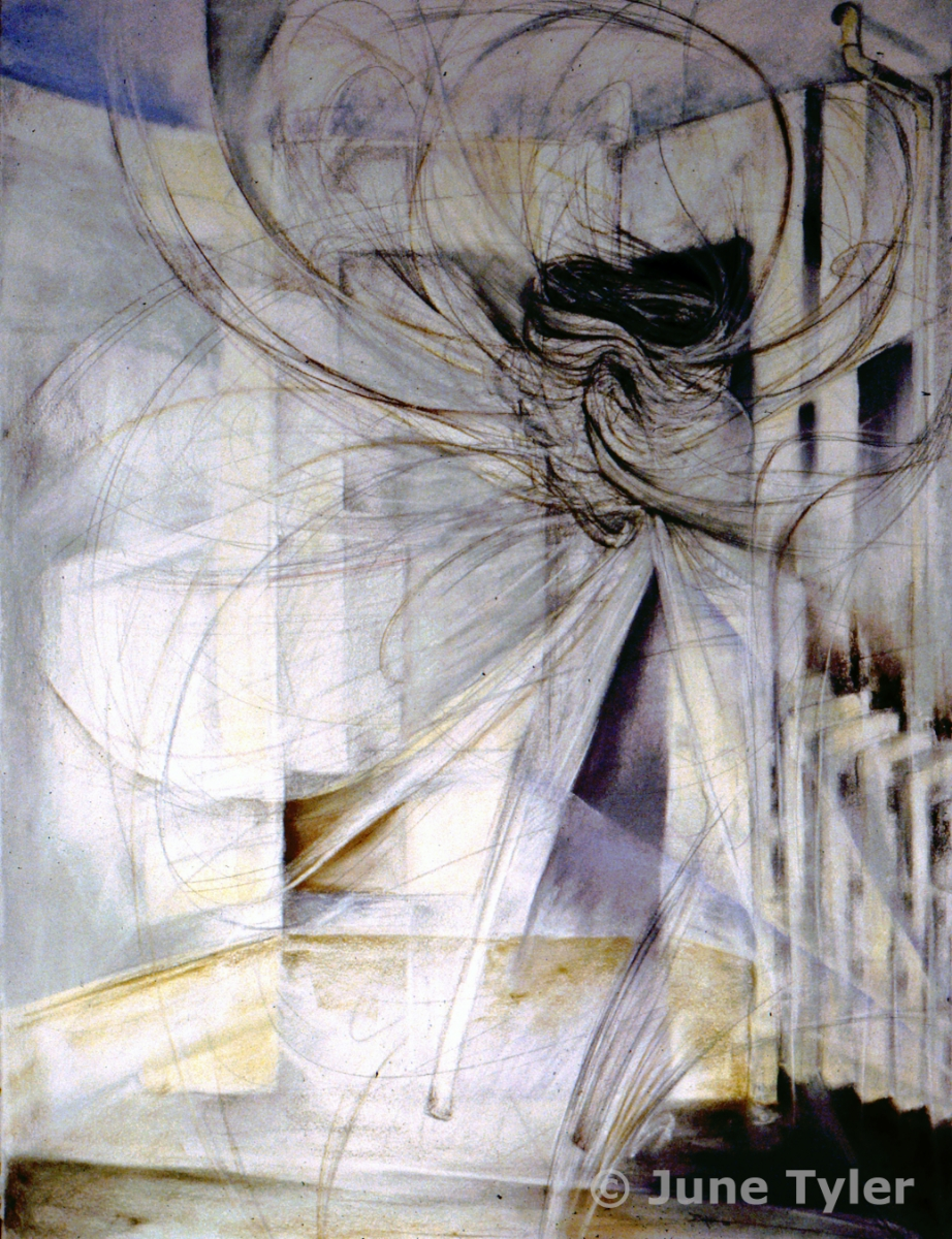 "Interior Series 2002 30"" x 22"" Graphite and pastel drawing"