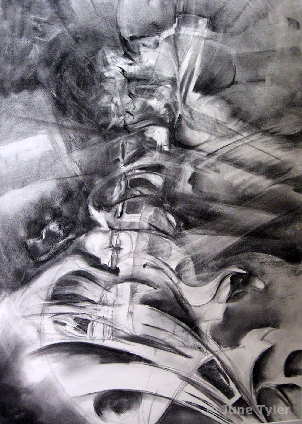 """Interior"" 2005 35"" x 24"" Charcoal drawing"
