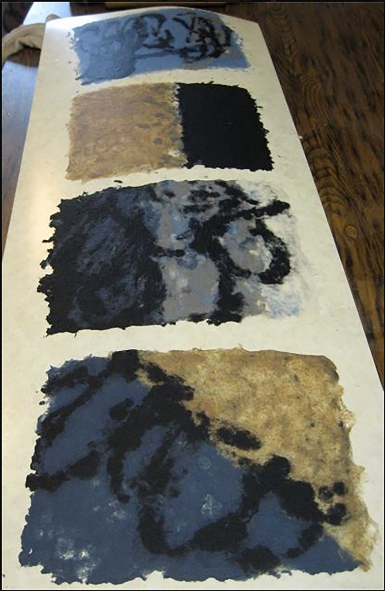 Here are Liliana's handmade papers from her second day of papermaking. She is using a a variety of pulps from the Introduction to papermaking class: blue jean pulp, a variety of plant fiber pulps, abaca and black denim pulp.