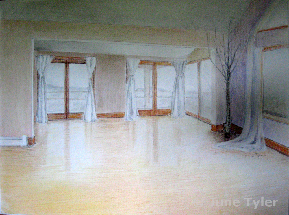 """Yoga Studio"" at Black Horse Yoga 2016 Pastel and conte pencil drawing Private collection"