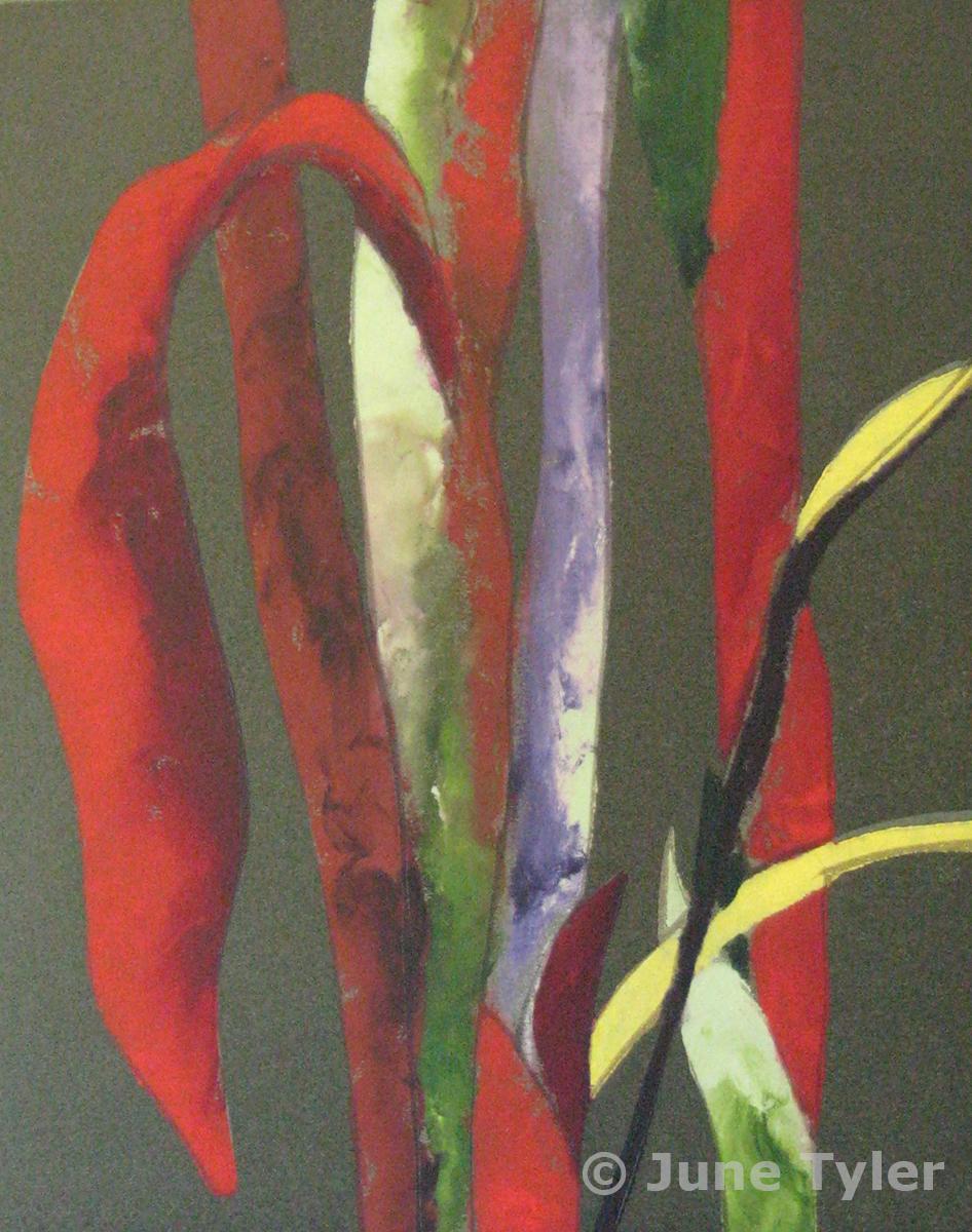 """Vermilion Leaves"" 1987 Relief Print - Variable Edition 15"" x 11"" (paper size)"
