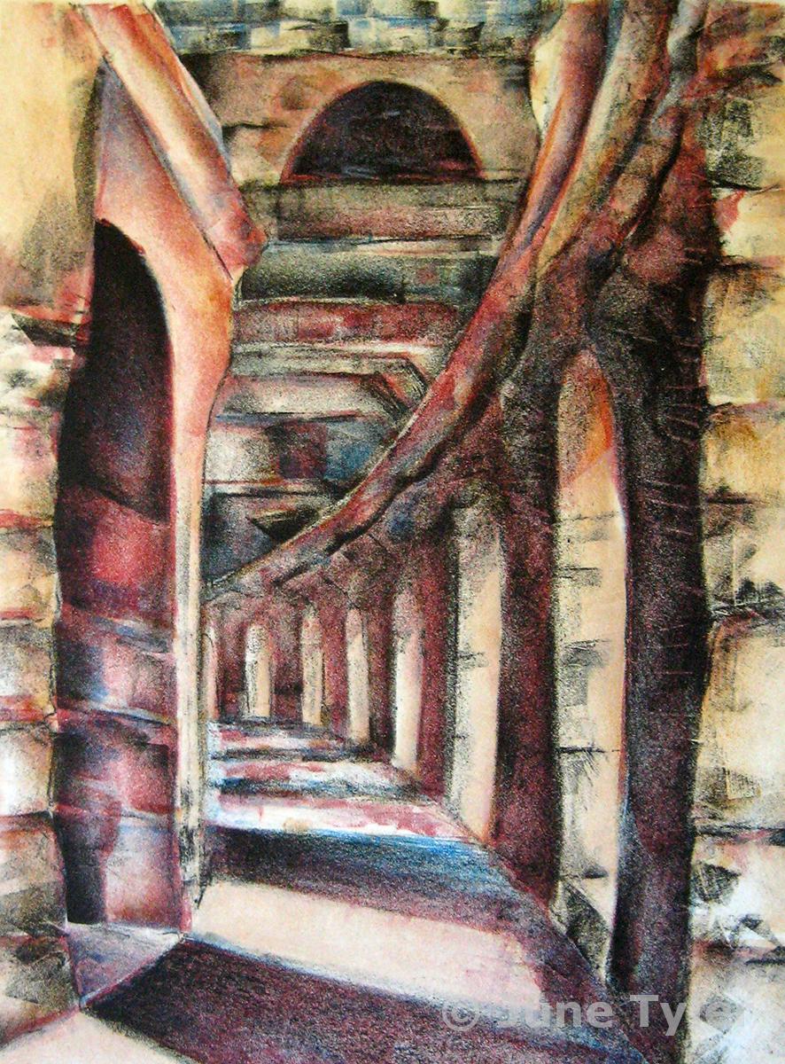 """Coliseum in Arles"" 1987 - 88 Color Lithograph 15"" x 11.25"" (paper size)"