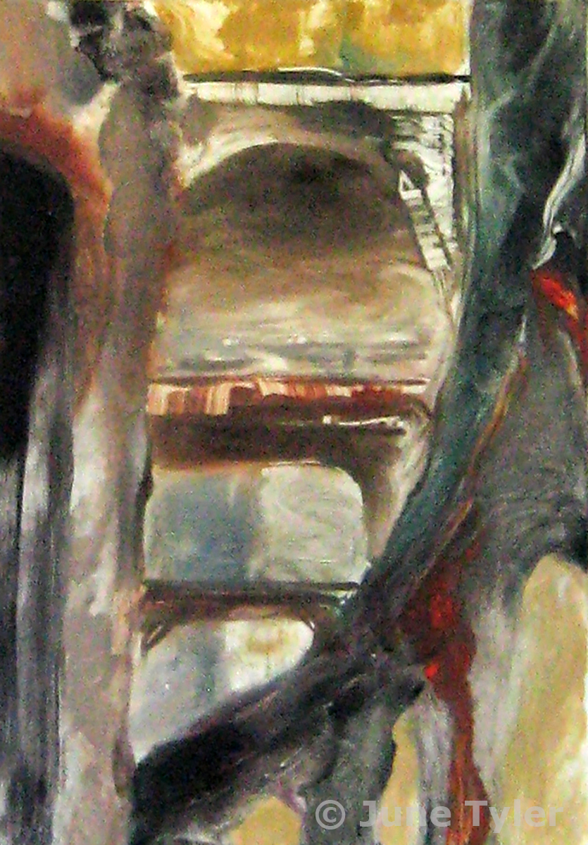 """Coliseum in Arles"" 1987 Oil Monotype 7"" x 5"" (image size)"