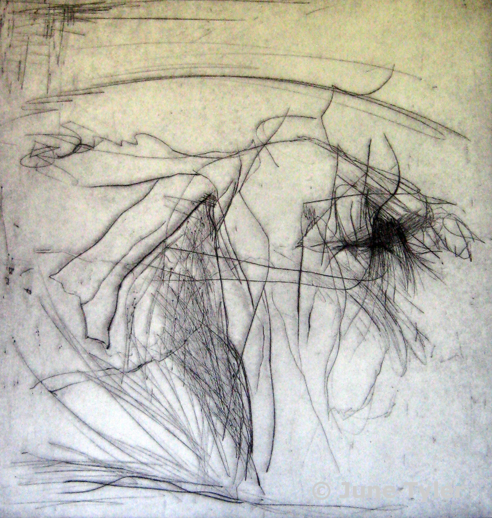 "Dress Rehearsal for ""Aviary"" Nikolais Dancers 1979 Drypoint Monoprint 13.25"" x 12.75"""