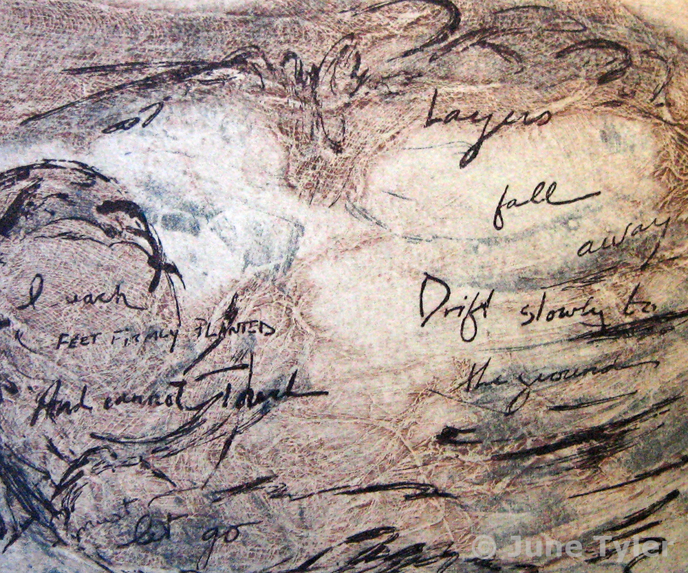 """Layers Fall..."" 1989 Collagraph, Intaglio on Handmade Paper for exchange portfolio at Syracuse University 11"" x 8.5"""