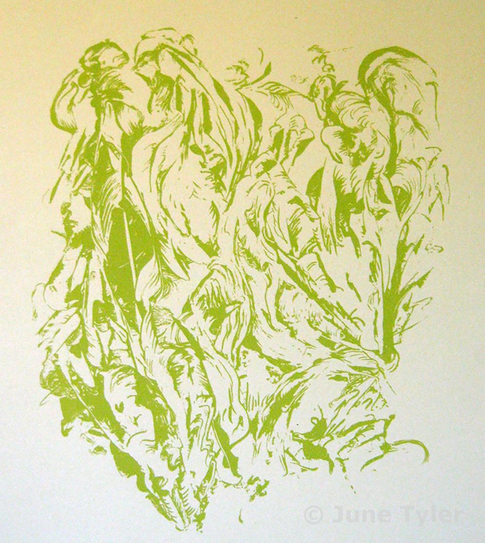 "Untitled on Tan Rives BFK approx. 1990"" Silkscreen 22"" x 15.25"""