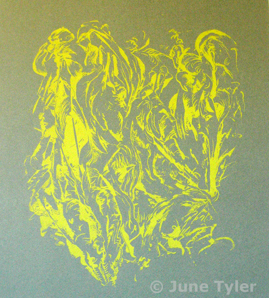 """Untitled on green Canson paper approx. 1990 Silkscreen 19 5/8"""" x 13.5"""" (paper size)"""