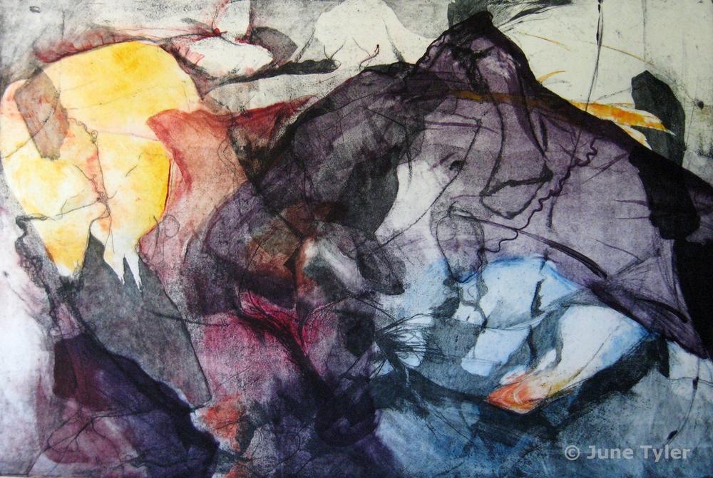 """Human Landscape"" 1978 Intaglio Monoprint 23.75"" x 35"""