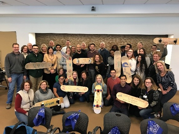 Custom skateboards team building