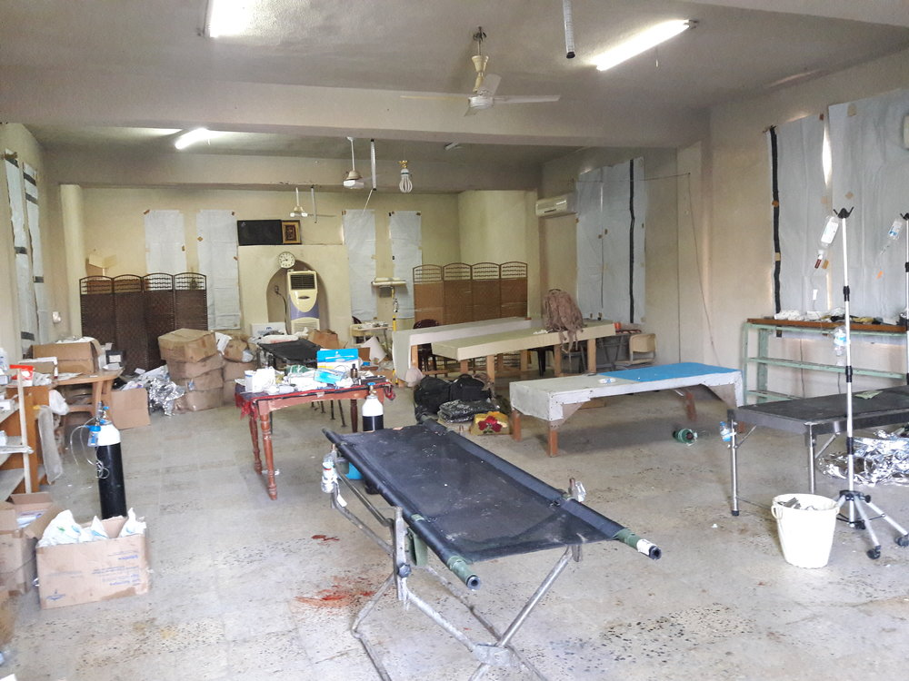 Inside the Mosul medical clinic. HERA will not be publishing any images of the active medical treatments we have witnessed and supported.