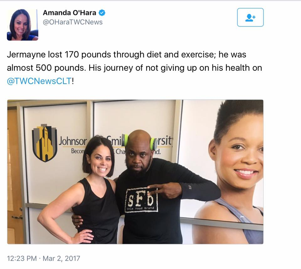 Many thanks to @amandaleighohara13 of @twcnewsnc for coming out to @johnsoncsmithu to interview me about my weight loss and workouts