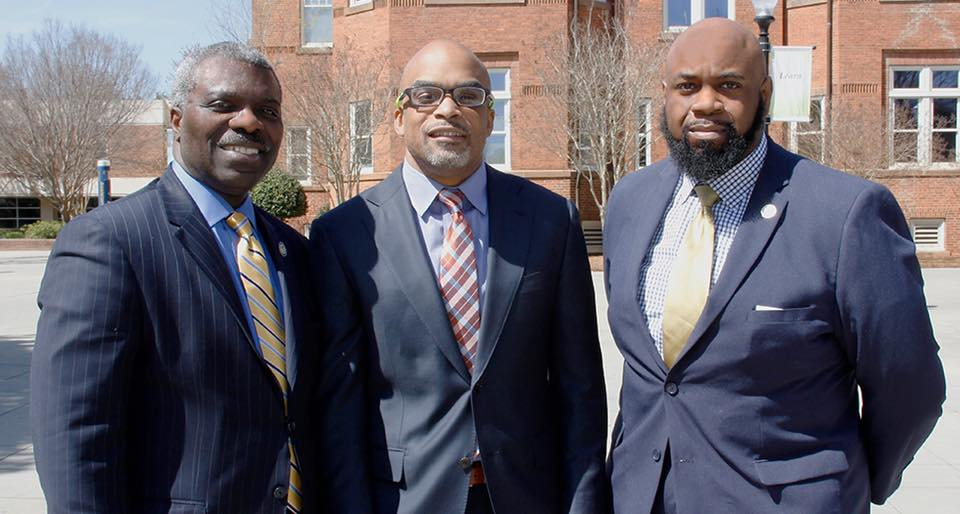 President Clarence D. Armbrister (l) welcomed Virginia State President, Dr. Makola Abdullah (c) (@makolaabdullah) to campus. Abdullah was a keynote speaker for professor Jemayne King's (r) (@solefoodbrand) Sole Food: Digestible Sneaker Culture class.  #solefoodback   #solefoodlectures  solefoodbrand.com   Photo credit:  Joshua Nypaver