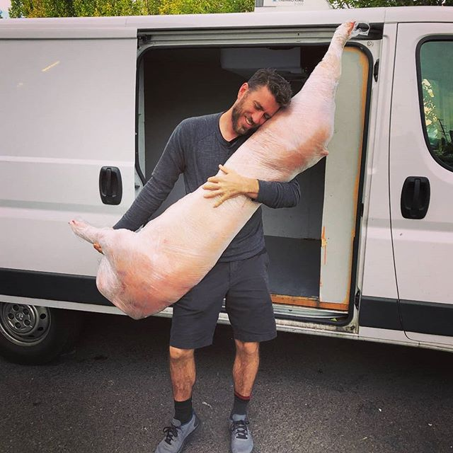 We get a lot of pride in sourcing and delivering local and sustainable meat to our chef friends in town... But we mostly just like the way we look when we carry whole dead animals around on our shoulders.  Half Hog courtesy of our friends at Pure Country Farms in Ephrata WA.  Fresh and frozen cuts available as well.