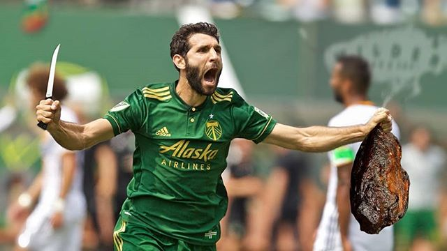 """Heeeey Bob! I got your brisket and I am going to slice it and dice it and feed it to my friends cuz we are having a party in the Rose City!  #rctid #ptfc #portlandtimbers #onwardrosecity #mlscup"