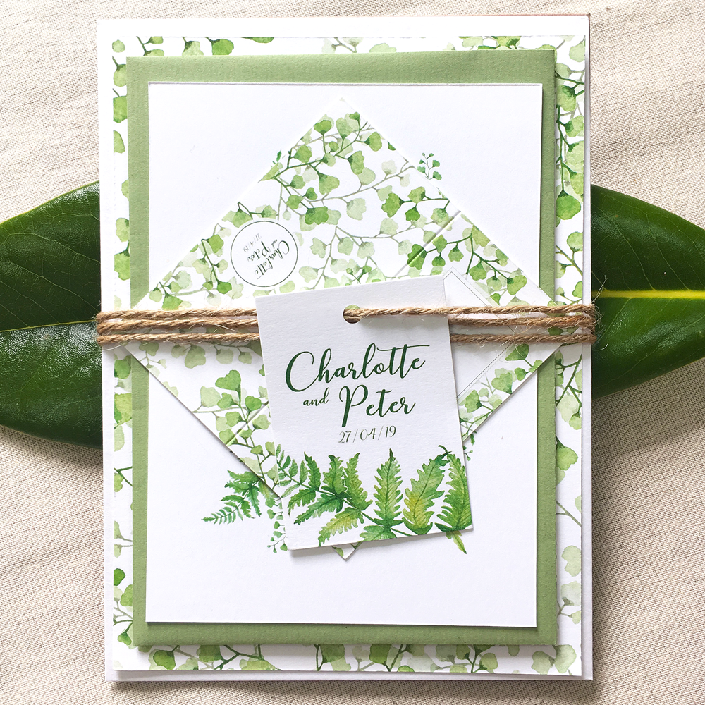 FERN   The Fern collection is a beautifully fresh, delicate and elegant stationery suite that will compliment so many wedding colour palettes, particularly a spring/ summer celebration!