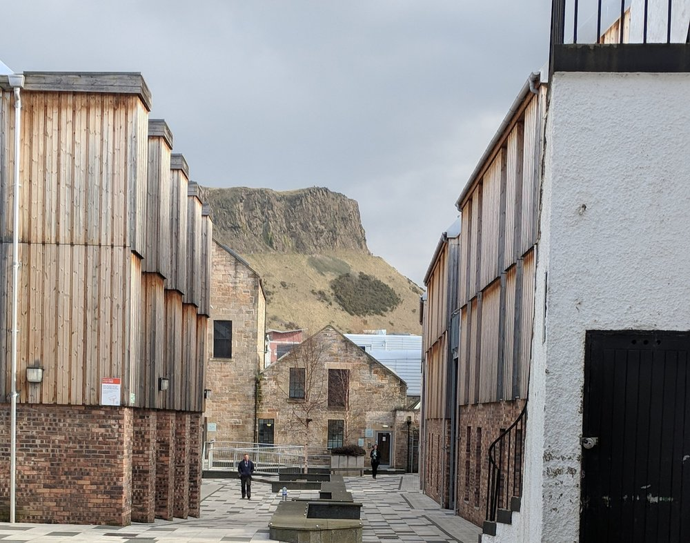 The university halls framing Arthur's Seat