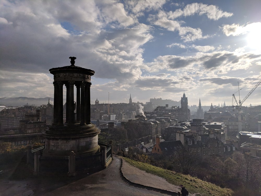The view from Calton Hill looking over the city with the   Dugald Stewart Monument