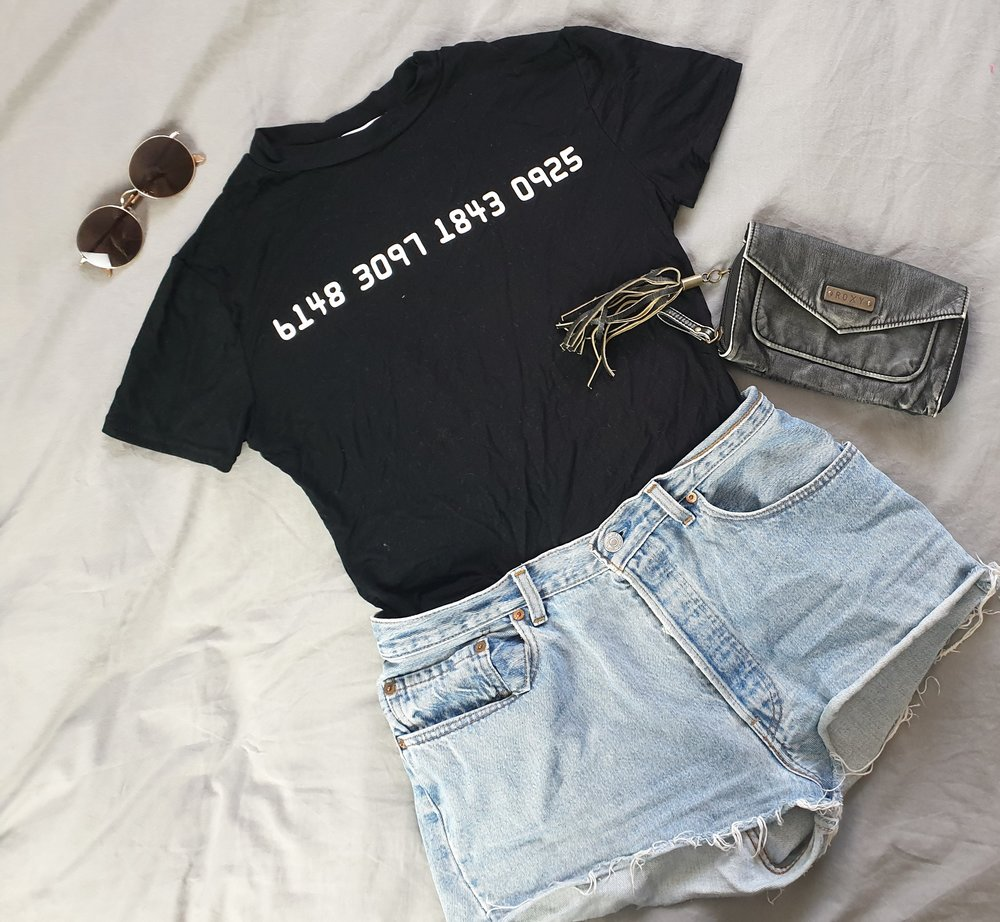 fashion blogger cali girl inspired ootd outfit of the day https://femmeluxefinery.co.uk/collections/tops/products/black-digital-number-print-tee-lizzie