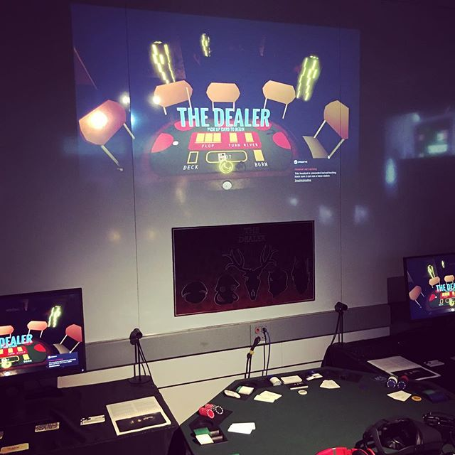 Last night, we watched as hundreds of people came by to play #thedealer, an awesome VR Poker game made by a talented team of @nyugamecenter students, for which I had the pleasure of writing lots of music ✍️💵🕹 #indiegame #gamemusic #indiedev #jazzmusic