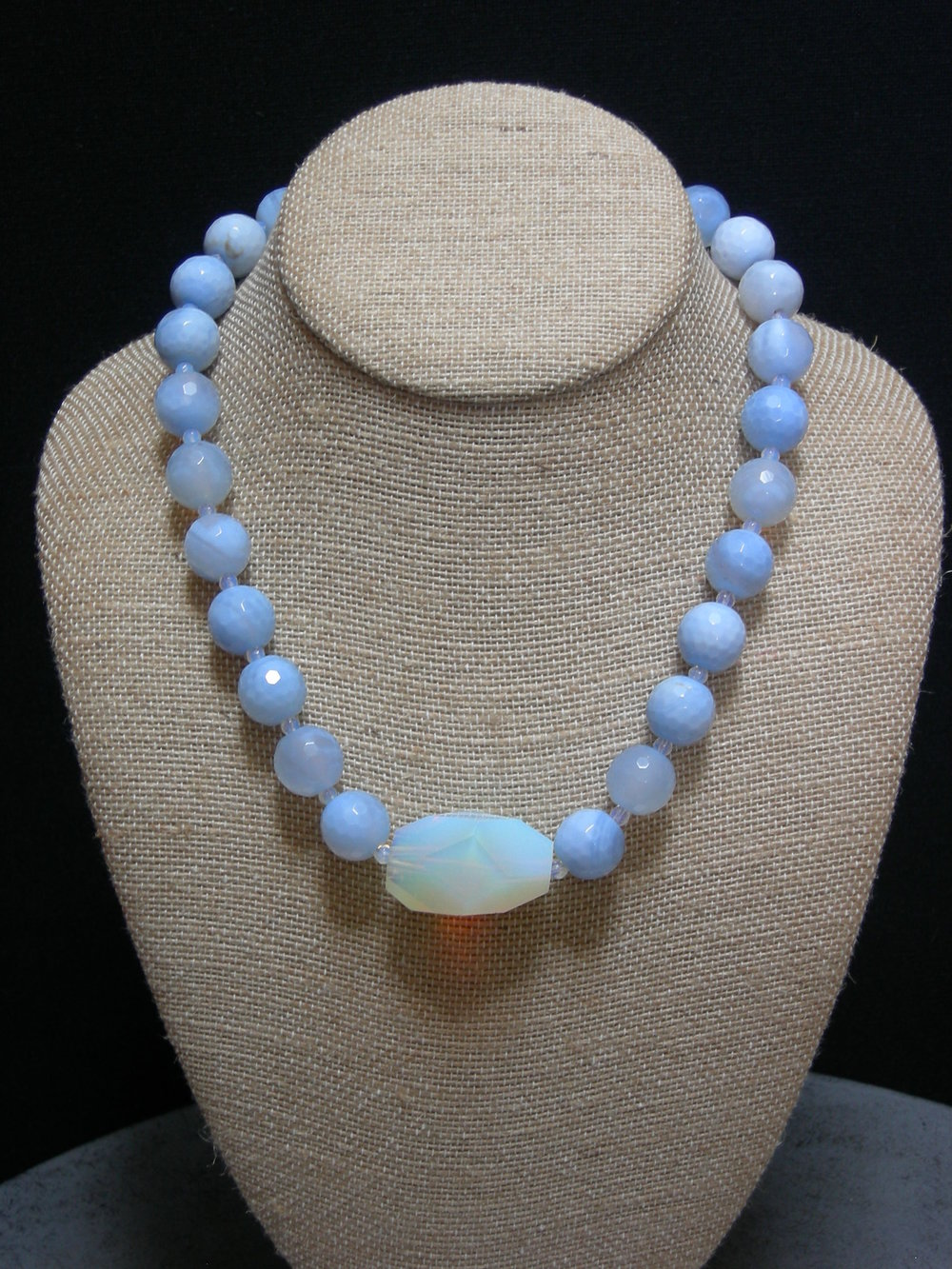 "Opalite center  and blue lace agate with sterling clasp.  18.5""  $75"