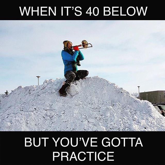 Just another typical practice day in Saskatchewan! 🇨🇦🏁Gota get those riffs ready for the studio! #canadianwinter #trombone #ohskanada #saSKAtchewan #minivandal #skapunk #wowitscold #like #owenwilsonwow #yxemusic #studio