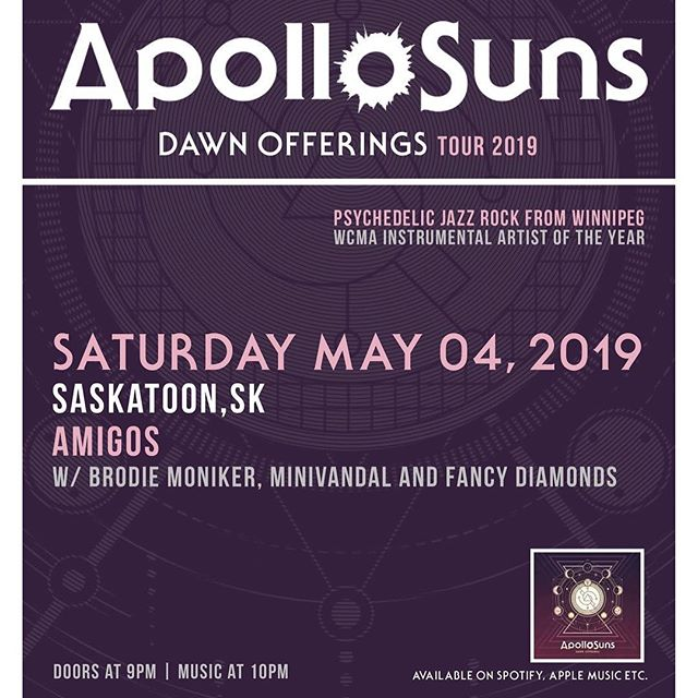 We're back in action May 4th @amigossk with @apollosunsmusic @fancydiamonds__  @brodiemoh PLUS more news to come... stay tuned! #minivandal #amigos #maythe4thbewithyou #saskmusic #skapunk #rock #latin #reggae #horns #livemusic #yxemusic #newtunes #party