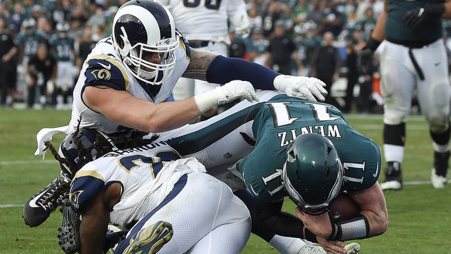 Carson Wentz (Eagles) missed Super Bowl LII with an ACL rupture during this play in December.