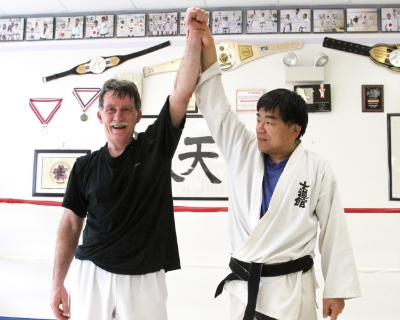 Nick, who is 60 years old, just took his black belt test on March 2016. He completed 2 minutes 20 rounds of sparing and grappling.