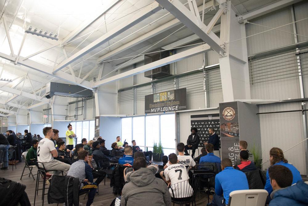 Lalas Abubakar (Columbus Crew SC) speaks to 2017 MPSC particpants
