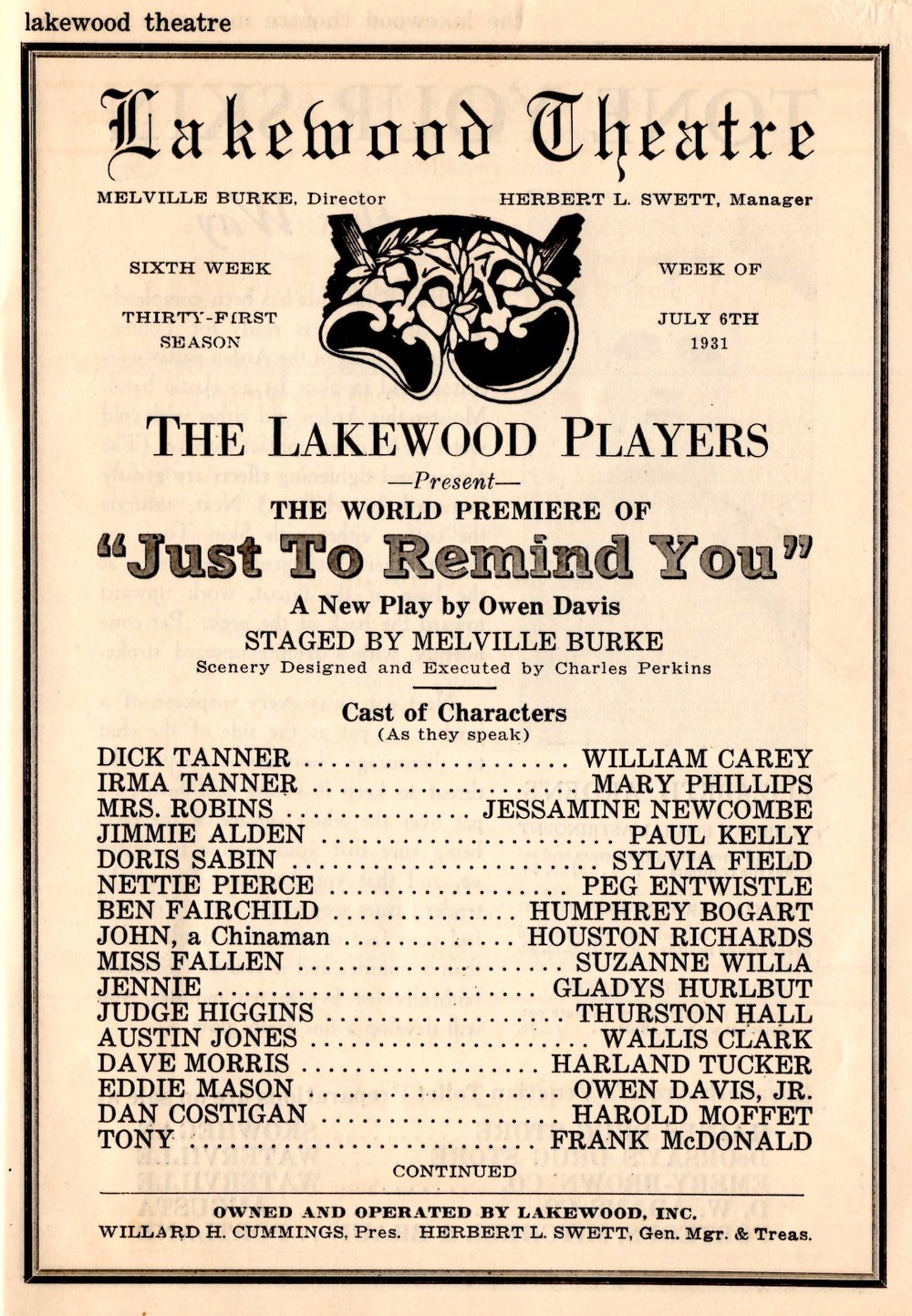 The playbill for the Lakewood Theatre play in which Humphrey Bogart played Peg's love interest.