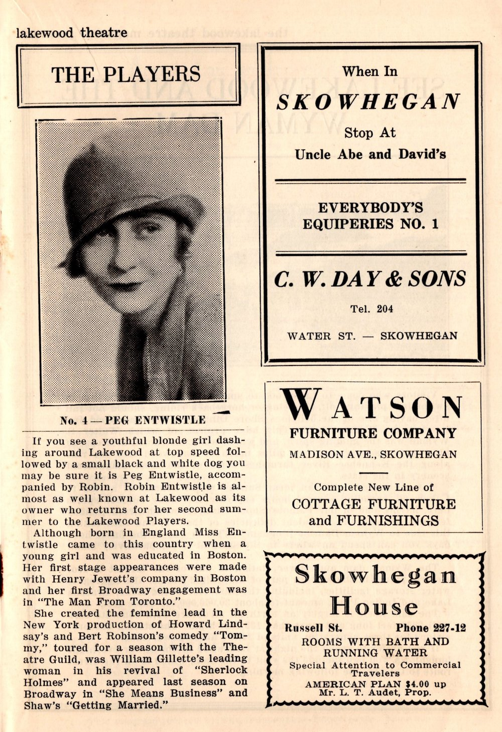 """A picture of Peg in a 1931 playbill, describing her """"dashing around Lakewood at top speed"""" with her beloved dog Robin."""