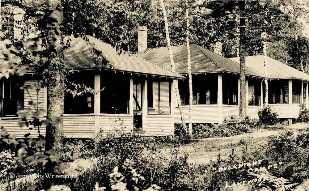 "These were some of the first overnight camps Herbert Swett built in 1923 to replace the accommodations formerly provided by the Lakewood Hotel. Eventually, Swett insisted that the cottages be called ""bungalows"" to make them sound more quaint. He was a brilliant marketing man. . ."