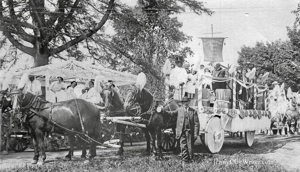 "A ""real photo postcard"" (RPPC) of the float entry by North Newport (Maine) Grange in Newport's centennial parade in 1914. Chartered in 1875, the North Newport Grange #195 merged with other local Granges in the 1950s."