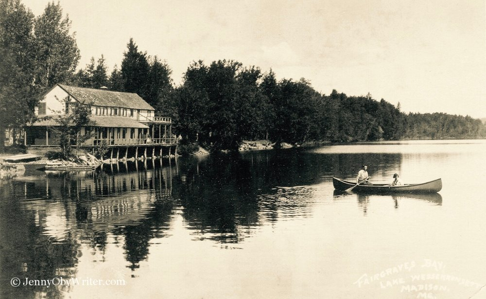 """I was thrilled to recently discover this very rare,undated postcard, which shows Fairgrieve's Bay (misspelled """"Farigraves""""). Fairgrieve's Hotel was located on Lake Wesserunsett, on the same side as Lakewood Theatre, just north of Lakewood Grove and south of Black Point."""