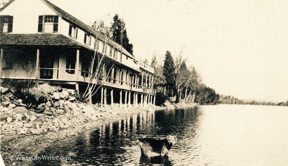A closer view of Fairgrieve's Hotel on Lake Wesserunsett in Madison, Maine. Black Point is visible in the distance, disappearing off to the right of the frame.