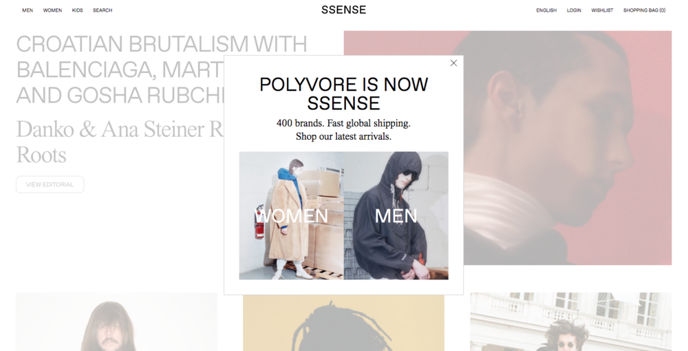 SSENSE/The new Polyvore homepage.