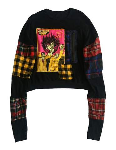 Elongated Patchwork Sweater, $125