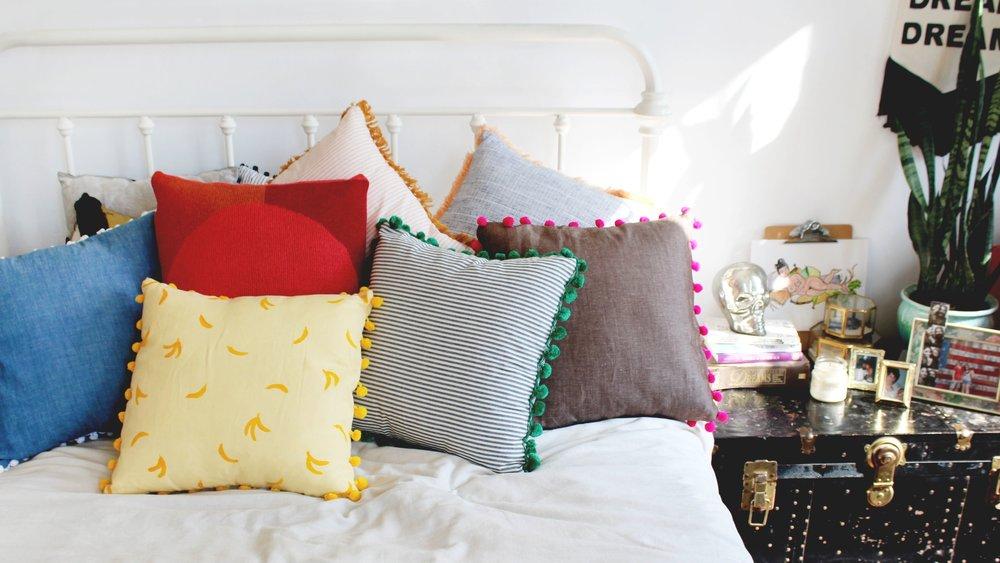 Colorful Throw Pillows by Calhoun & Co. Boho Bedroom Decor