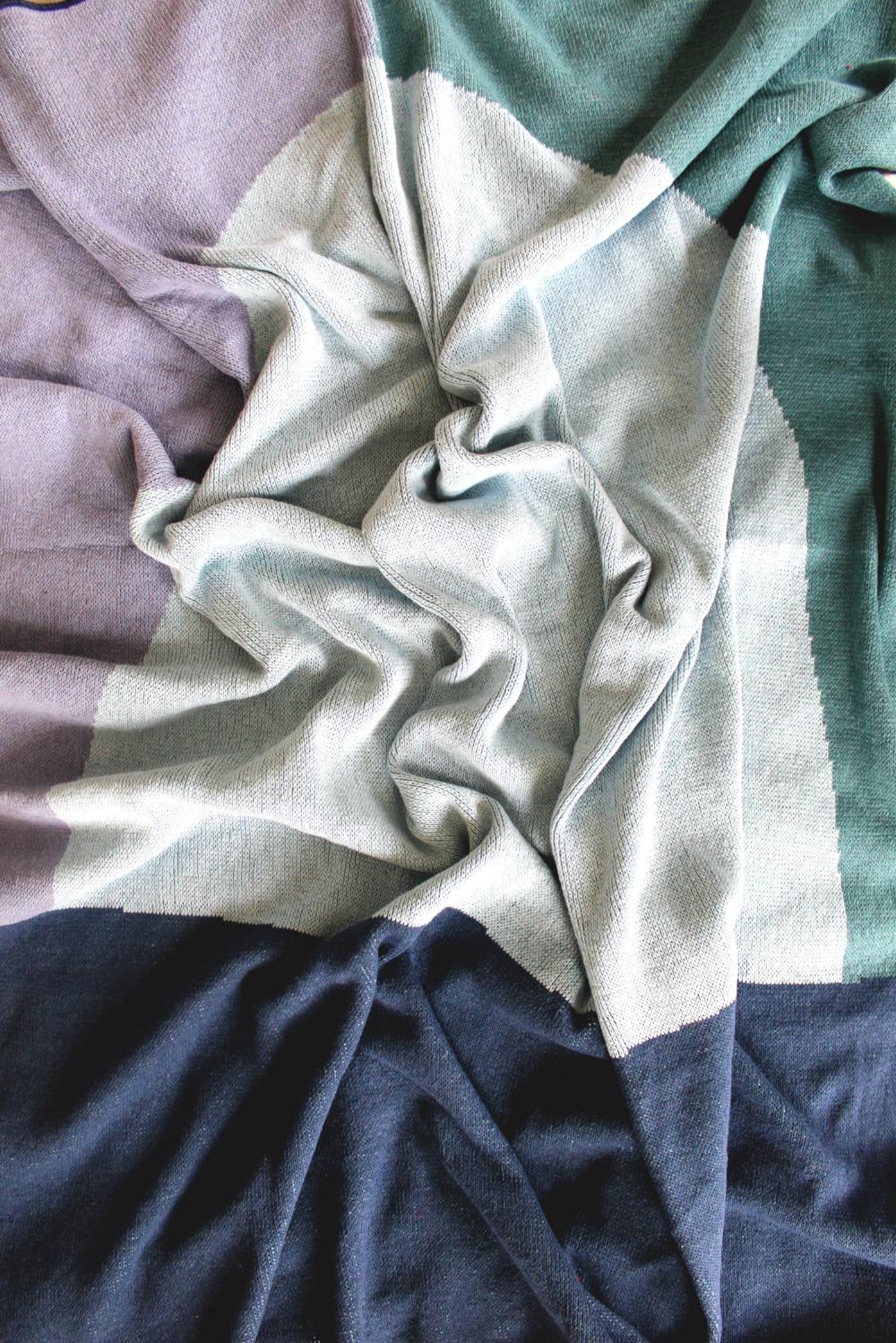Ocean Sunrise Blue Blanket by Calhoun & Co. - Home decor Made in USA