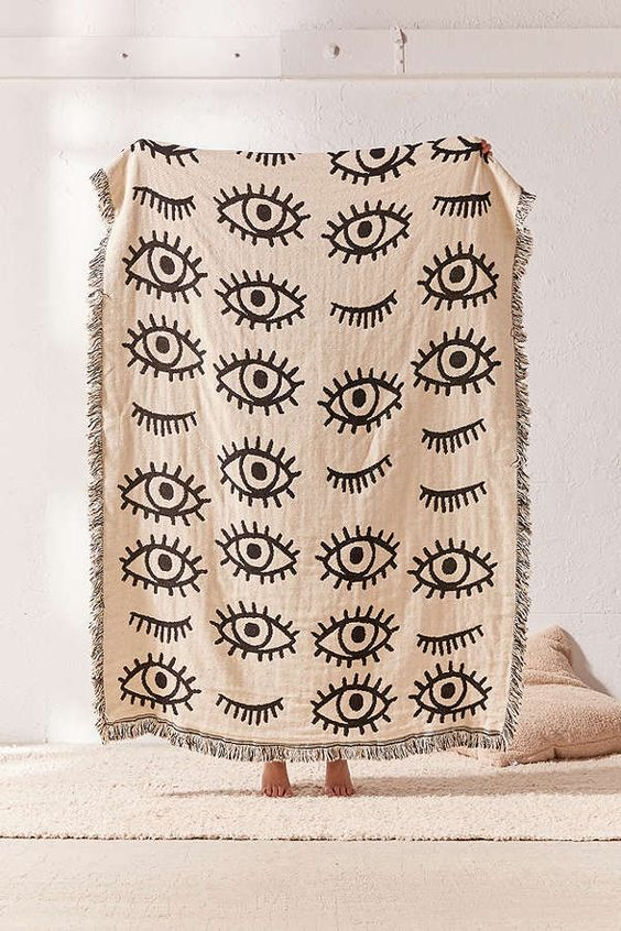 Calhoun & Co. Urban Outfitters Exclusive Throw Blanket Eyes and Winks