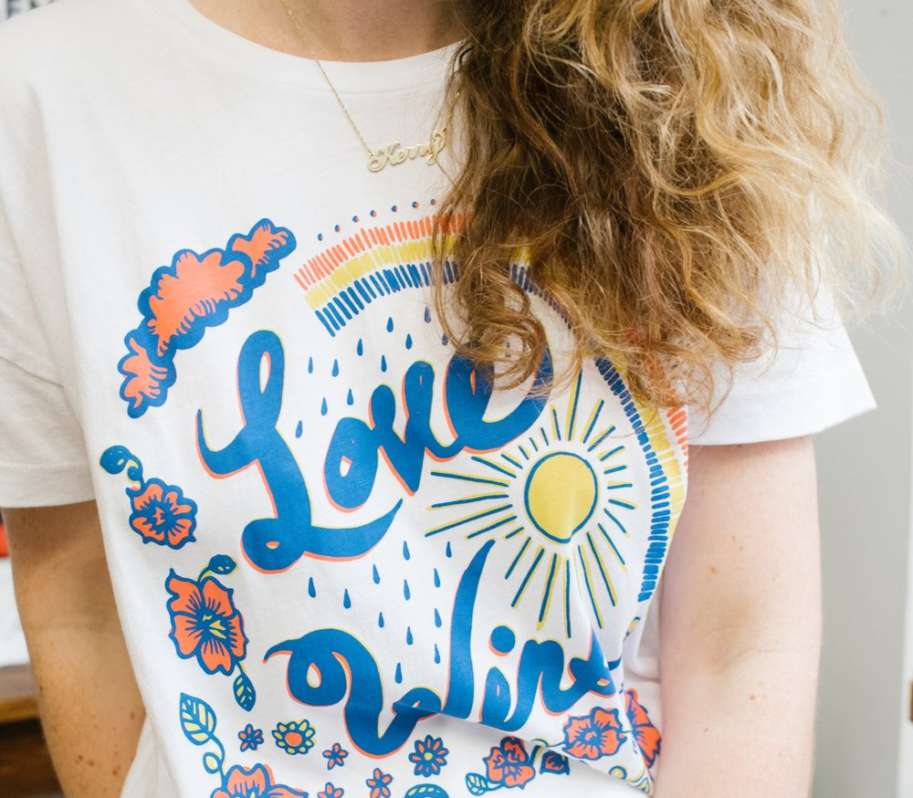 Love Wins Calhoun & Co. x Lou & Grey Pride Collaboration Rainbow t-shirt