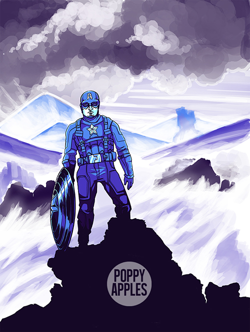 Captain America in the style of Caspar David Friedrich's Wanderer Above the Sea of Fog.
