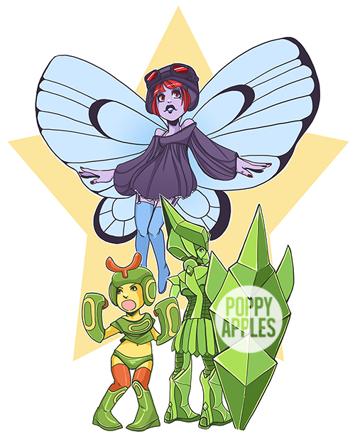 Caterpie, Metapod, Butterfree. 2015.
