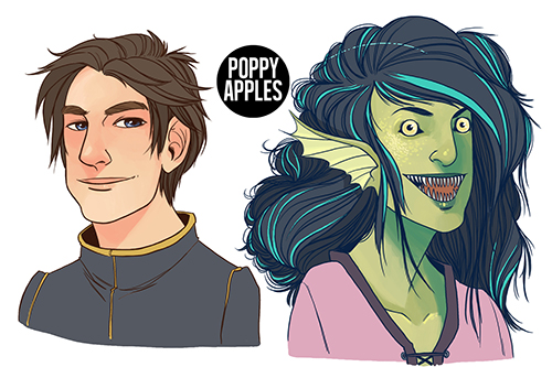Commissioned headshots of some DnD characters. 2017.