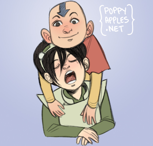 Toph Beifong and Aang from Avatar the Last Airbender