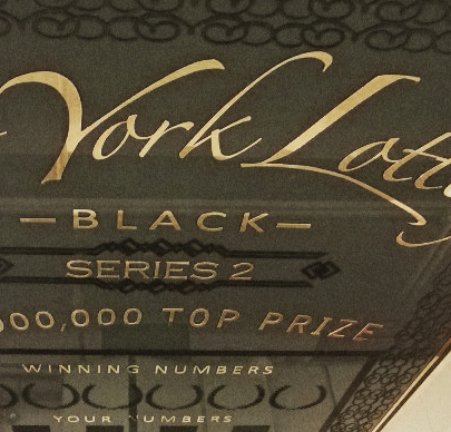 giant scratch off ticket for NY lottery