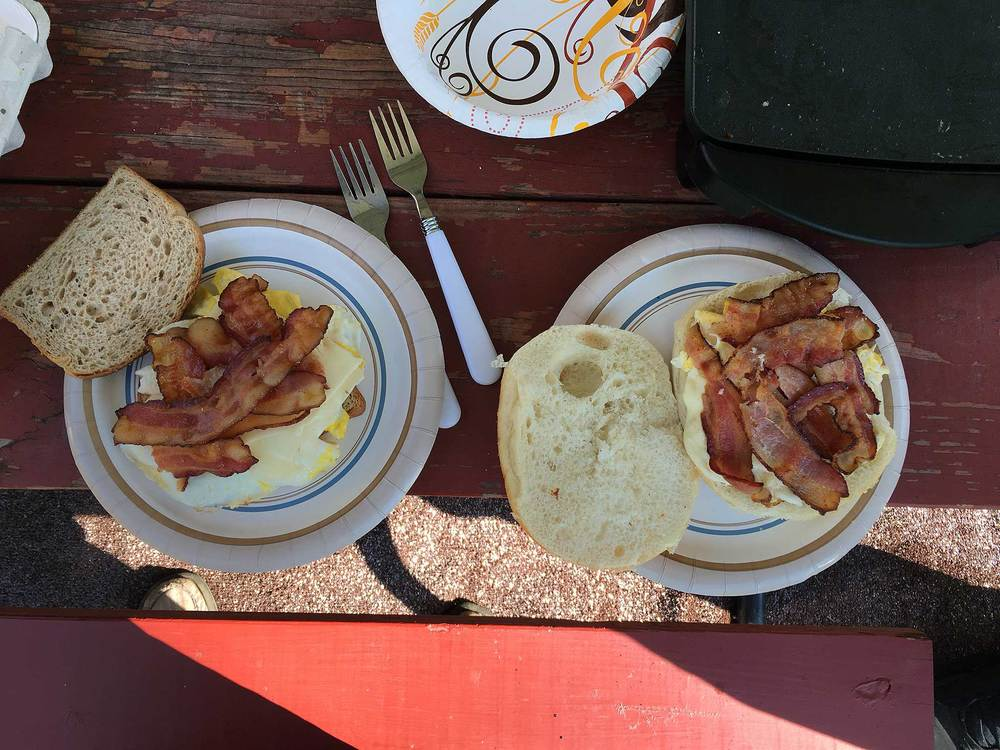 Our daily camp breakfast, the bacon and egg sandwich.