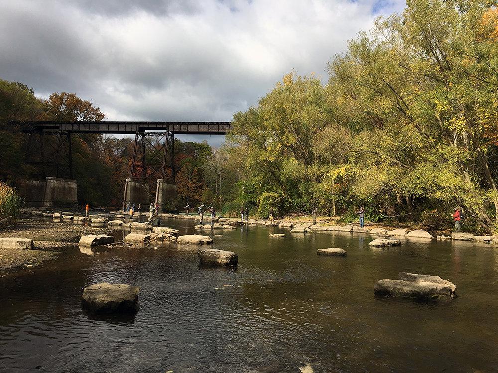 Looking downstream on 18 Mile Creek toward the old trestle bridge.