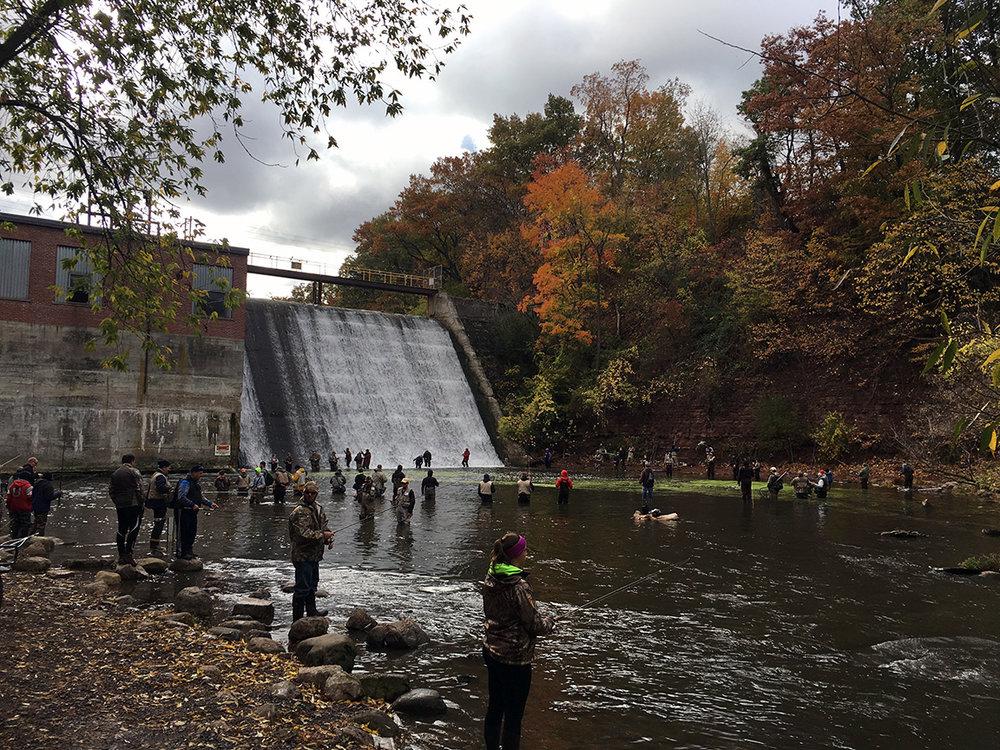 """The Burt Dam spillway where the """"combat fishing"""" gets heaviest."""